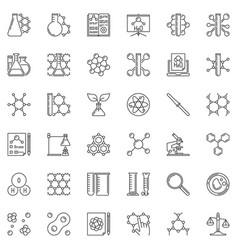 chemistry outline concept icons set linear vector image