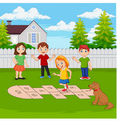 Children playing hopscotch in park vector