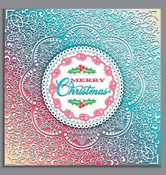christmas card with lace ornament in scandinavian vector image