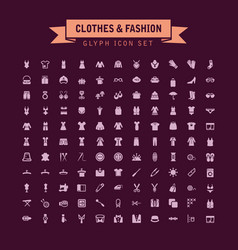 clothes and fashion glyph icon set vector image