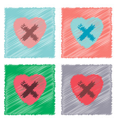 Collection of flat shading style icons heart vector