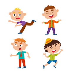 Color set of kids in varioses poses vector