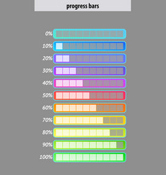 Colorful progress bar set user interface design vector