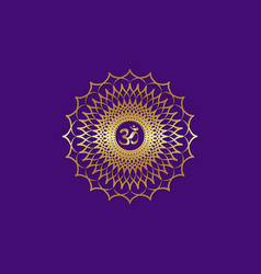 crown chakra sahasrara 7th chakra gold mandala vector image