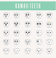 cute little teeth in kawaii style set vector image