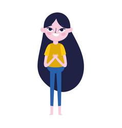 Cute teen girl standing cartoon character on white vector