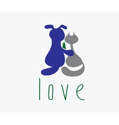 dog hugging cat with love vector image