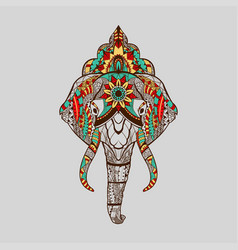 ethnic patterned head elephant with mandala vector image