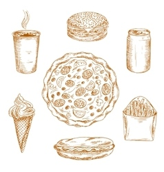 Fast food dishes drinks and desserts sketch icons vector image