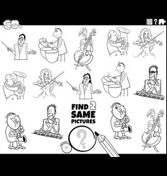 find two same musicians task coloring book page vector image