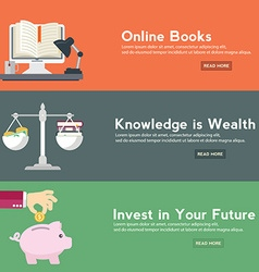 Flat design concepts for online book online vector