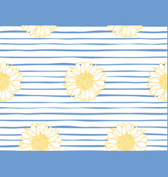 floral seamless pattern marine stripe wallpaper vector image