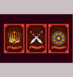 game asset pack fantasy card with magic items vector image