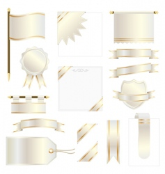 gold flags and ribbons vector image
