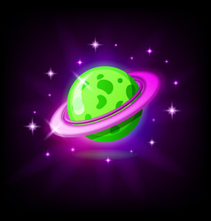 Green planet with rings icon for game or mobile vector