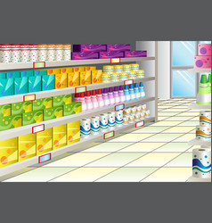 Grocery store aisle vector