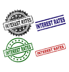 Grunge textured interest rates seal stamps vector