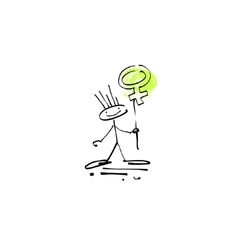 hand drawing sketch human smile stick figure with vector image