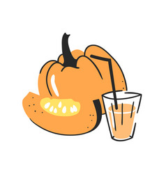 Hand drawn summer set of pumpkin juice and glass vector