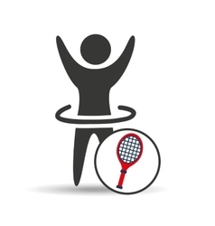 happy man silhouette racket tennis sport icon flat vector image