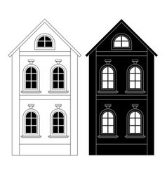 house black and white outline drawing vector image