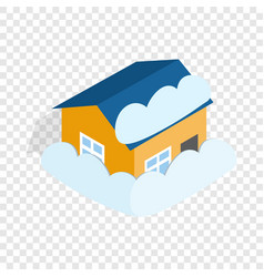 House covered with snow isometric icon vector