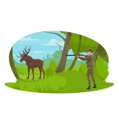 Hunter and hunt for elk flat design vector