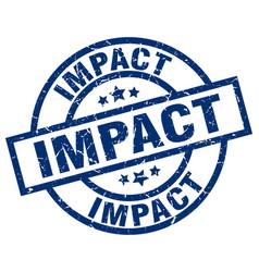 Impact blue round grunge stamp vector