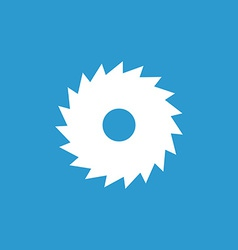 industrial saw icon white on blue background vector image