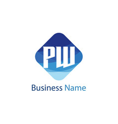Initial letter pw logo template design vector