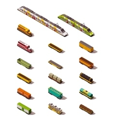 isometric trains vector image