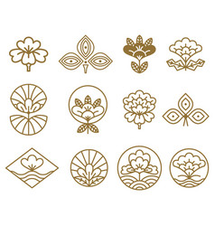 Japanese icons flowers set vector