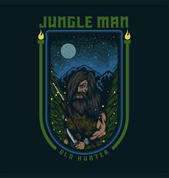jungle man old hunter vector image