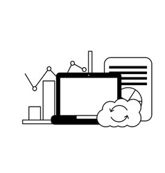 laptop cloud computing reload chart finance vector image