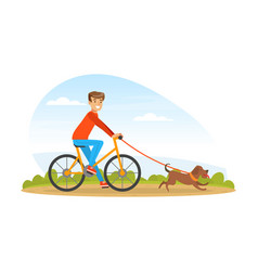 man cyclist walking with his pet dog outdoors vector image