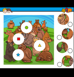Match pieces puzzle with bear characters group vector