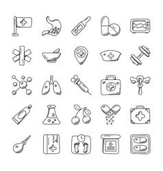 medical and health doodle icons vector image