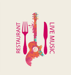 Menu for music restaurant with guitar and cutlery vector