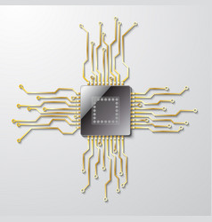 microchip on a gray background vector image