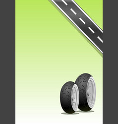 motorcycle tyre on a green background vector image