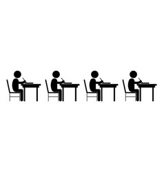 multiple student studying classroom black vector image