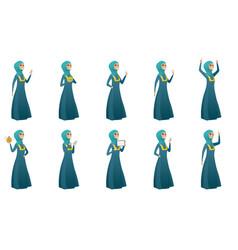 muslim business woman set vector image