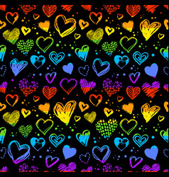 Neon seamless pattern with valentine hearts vector