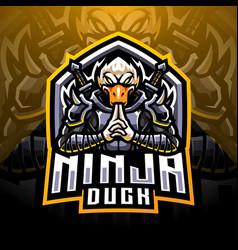 Ninja duck esport mascot logo design vector