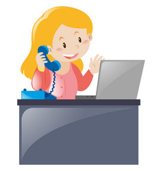Office worker answering the phone vector