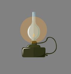 oil retro lamp glowing kerosene lamp on a gray vector image