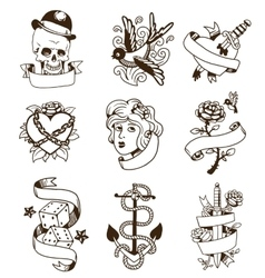 Old vintage tattoo set vector image