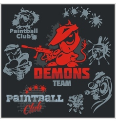 Paintball emblem and logo - set vector image