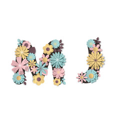 paper art flower alphabet beautiful romantic vector image