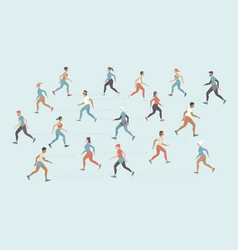 people jogging outside keeping distance vector image